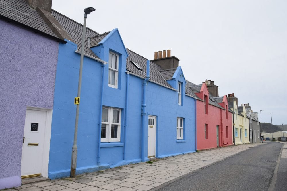 Gaily painted houses in New Street, Scalloway, Shetland