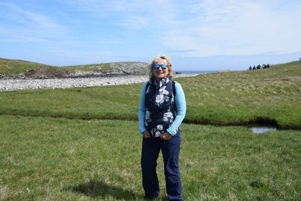 Sue in the breeze on Mousa Island, Shetland