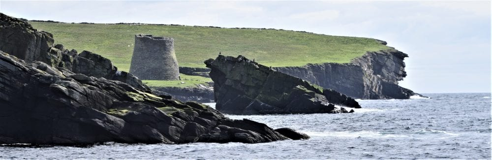 The broch at Mousa Island, sitting on the cliffs, Scotland