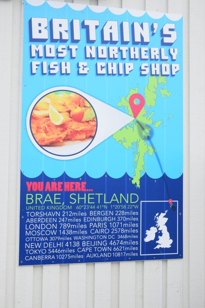 A sign advertising Britain's most northerly fish and chip shop, Brae