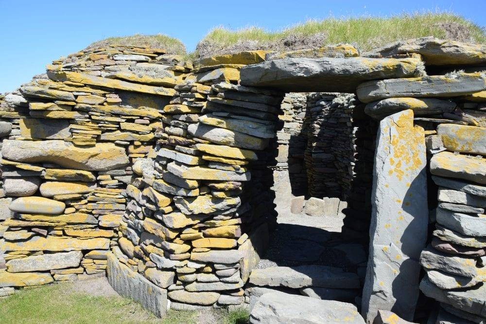 Ruins - Pictish wheelhouses at Jarlshof prehistoric site, Shetland
