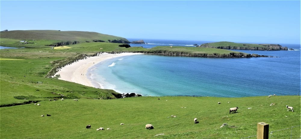 A gorgeous sandy bay at Scousburgh, Shetland, on the road to St Ninian's Isle
