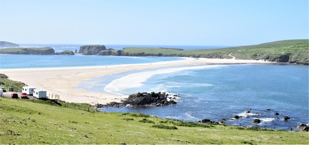 The sand tombolo leading to St Ninian's Isle, Shetland, Scotland