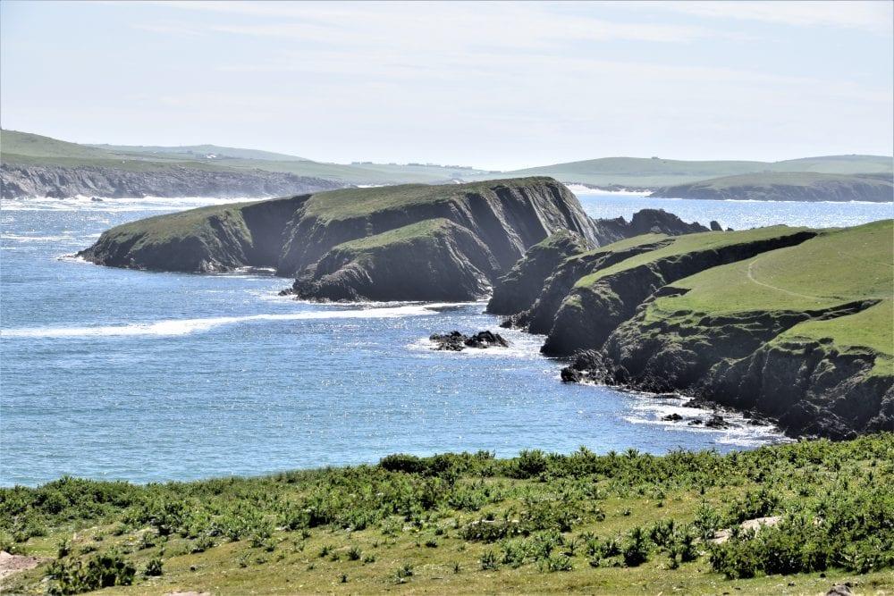 Sheet cliff faces at St Ninian's Isle, Shetland, Scotland