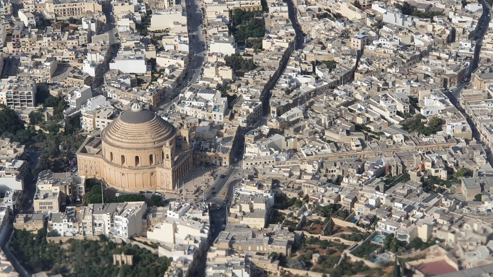 The domed church at Mosta, Malta, seen from the air