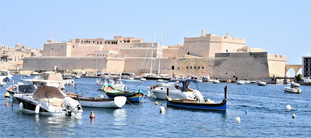 Boats in the harbour in front of Fort St Angelo
