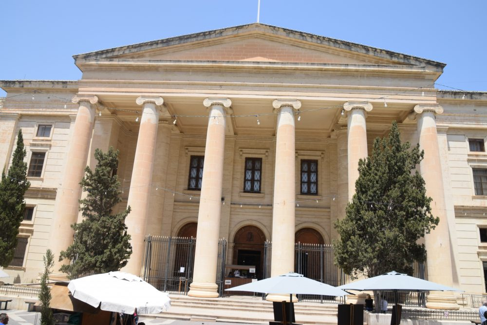 Pillared front elevation of the law courts, Valletta, Malta