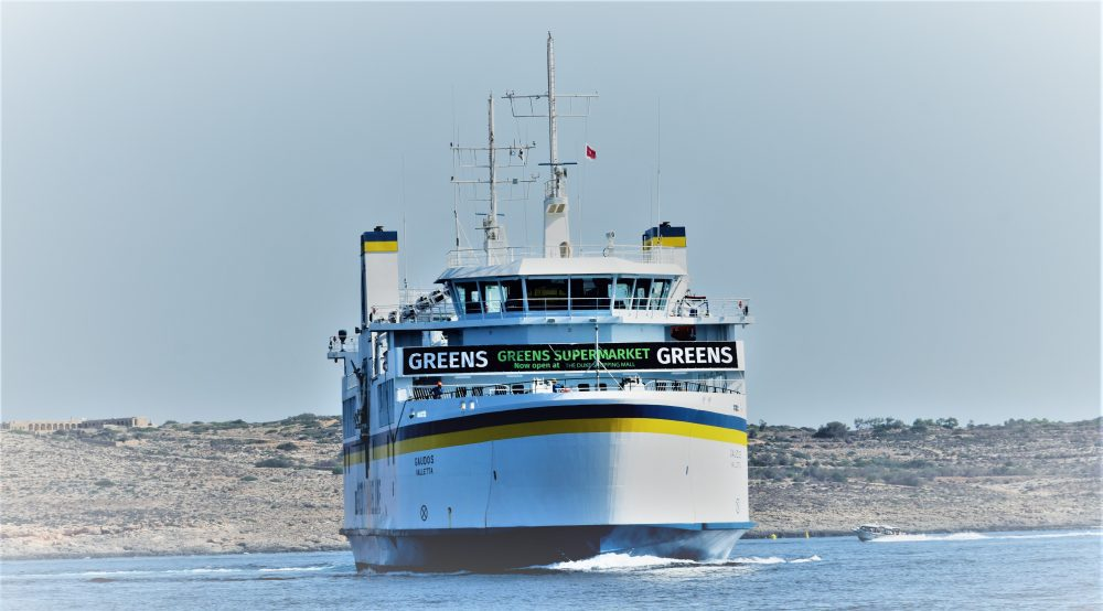 The ferry to Gozo arrives at the quay in Malta