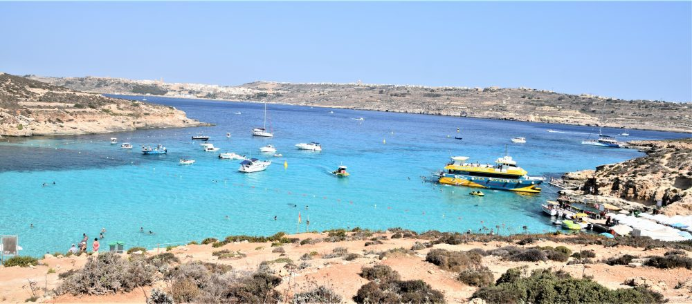 A panoramic view of the gorgeous hues in the Blue Lagoon, Comino, Malta