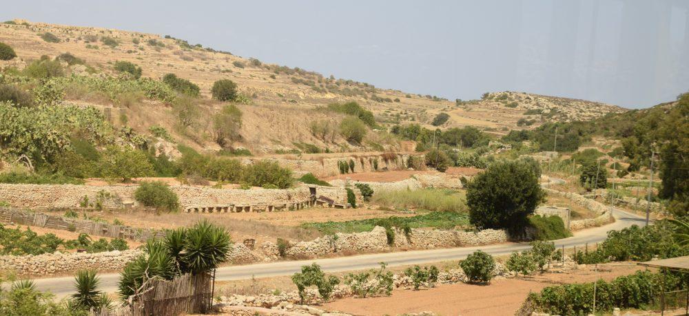Dry stone walls on terraced hillsides in Malta