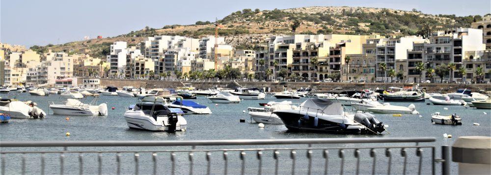 Boats moored in St Paul's Bay, Malta