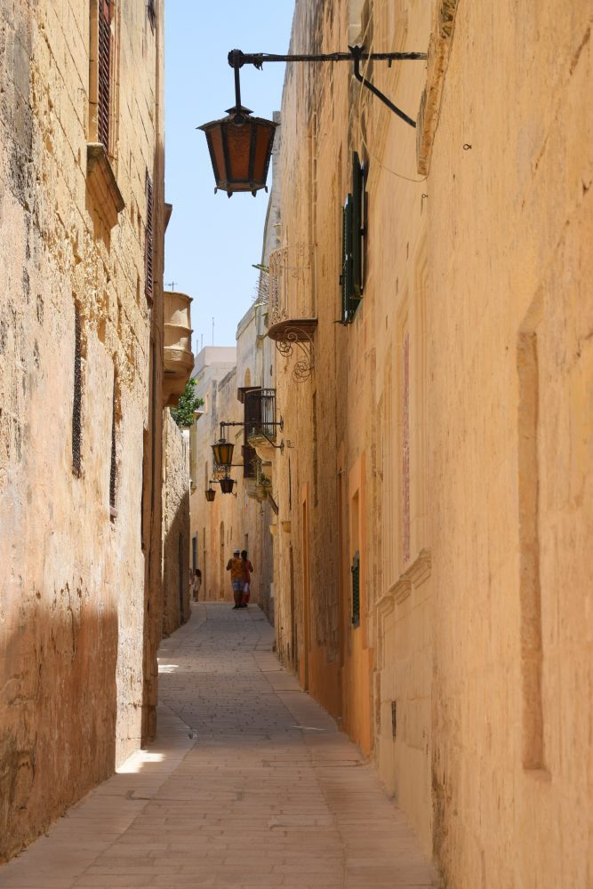 A narrow winding street in Mdina, Malta