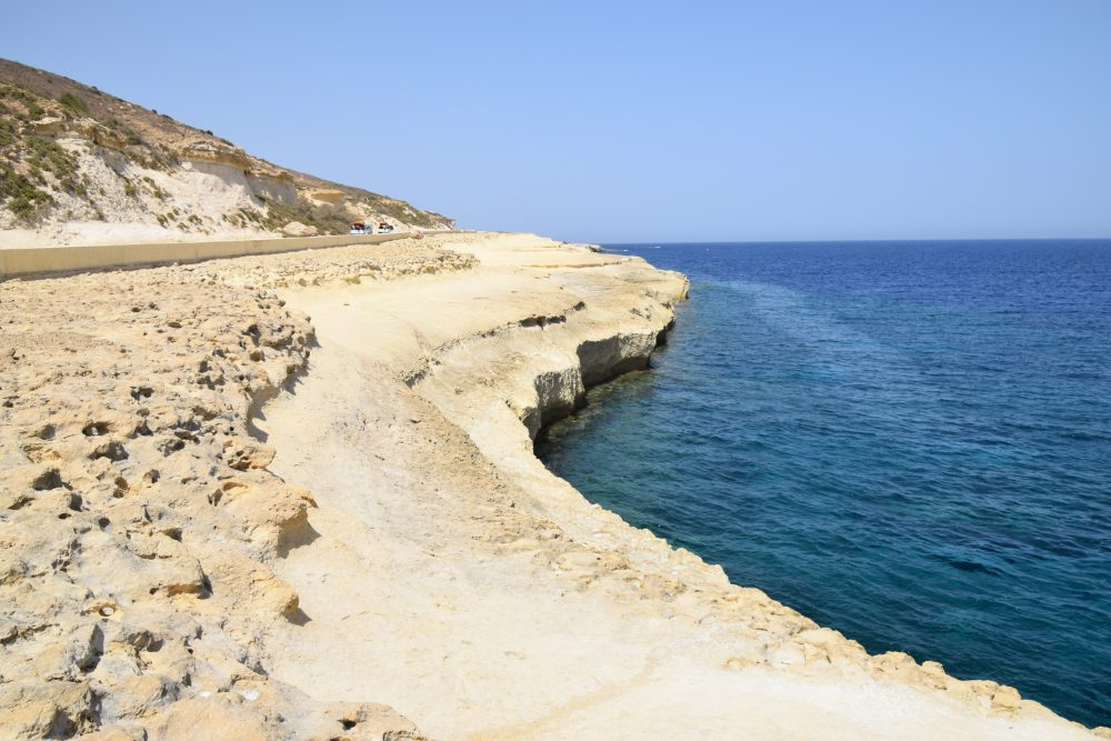 Blue seas and rocky coasts at Xwejni Bay, Gozo