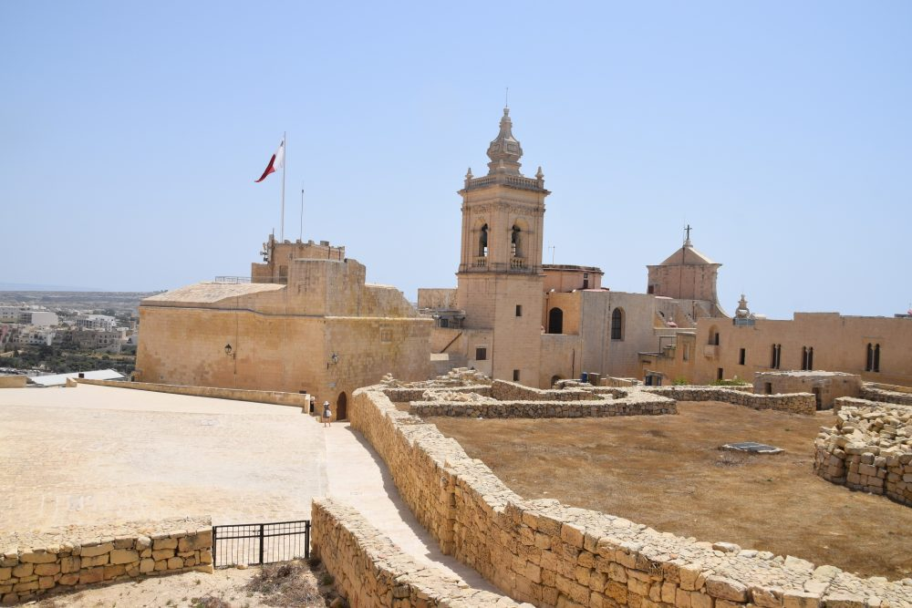 The Cathedral of the Assumption of the Blessed Virgin and ruins on top of the citadella at Rabat, Gozo