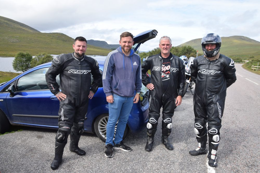 Bikers in their leather gear on the NC500 near Loch Maree