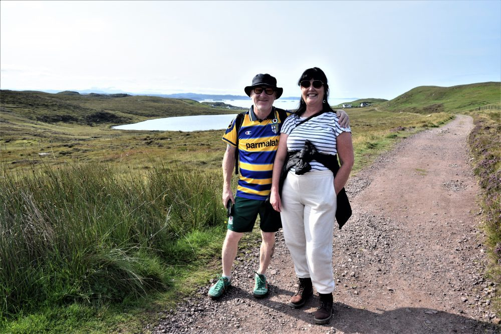 Tim and Vicky on the path to Sandwood Bay, Scotland