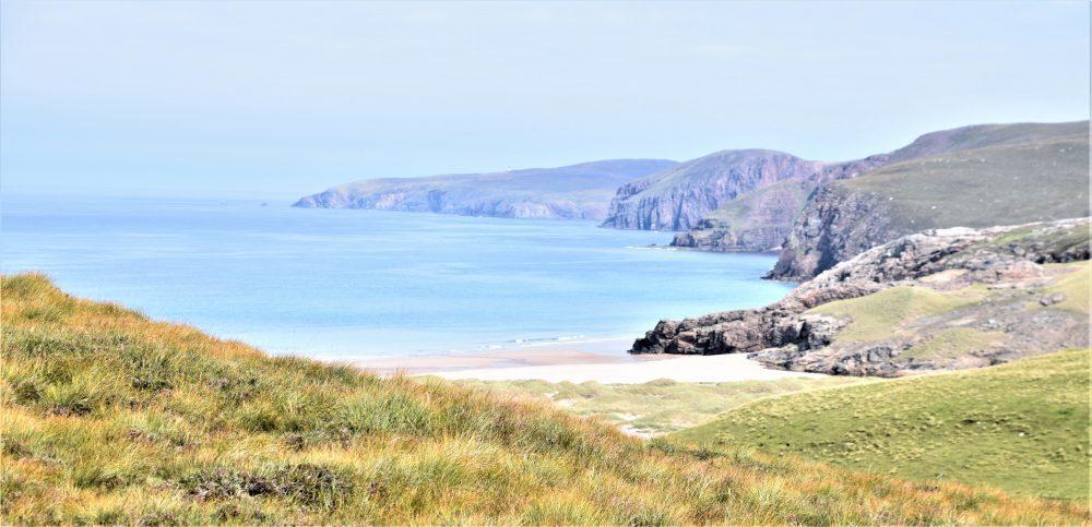 Sandwood Bay Beach and cliffs, Scotland, seen from above