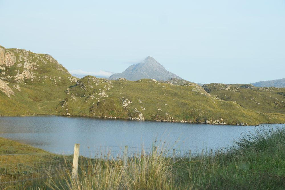 Mountain and loch scenery in north west Sutherland