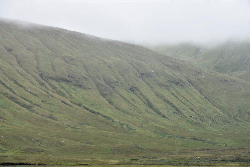 Green folded hillsides in north west Sutherland
