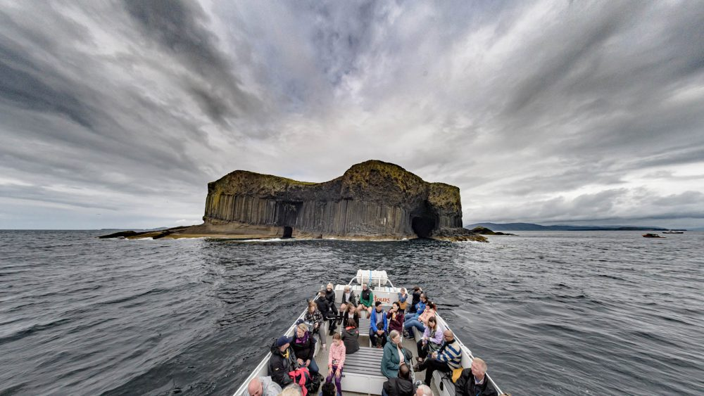 Cloud formations around Fingal's Cave, Staffa