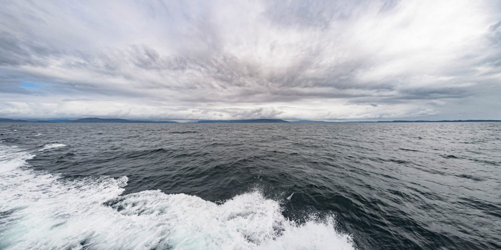 Cloud formations above a rolling sea, Staffa