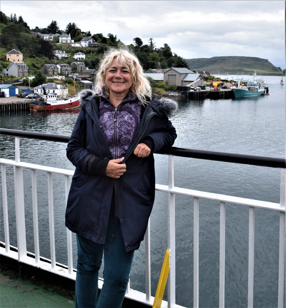 Sue on the ferry to the Western Isles, leaving Oban