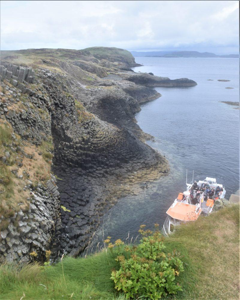 Hexagonal formations create a stunning coastline on Staffa