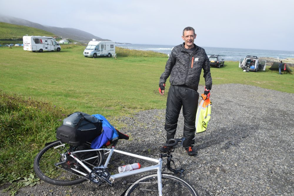 Steven takes a quick break whilst cycling the Hebridean Way in Barra, Western Isles