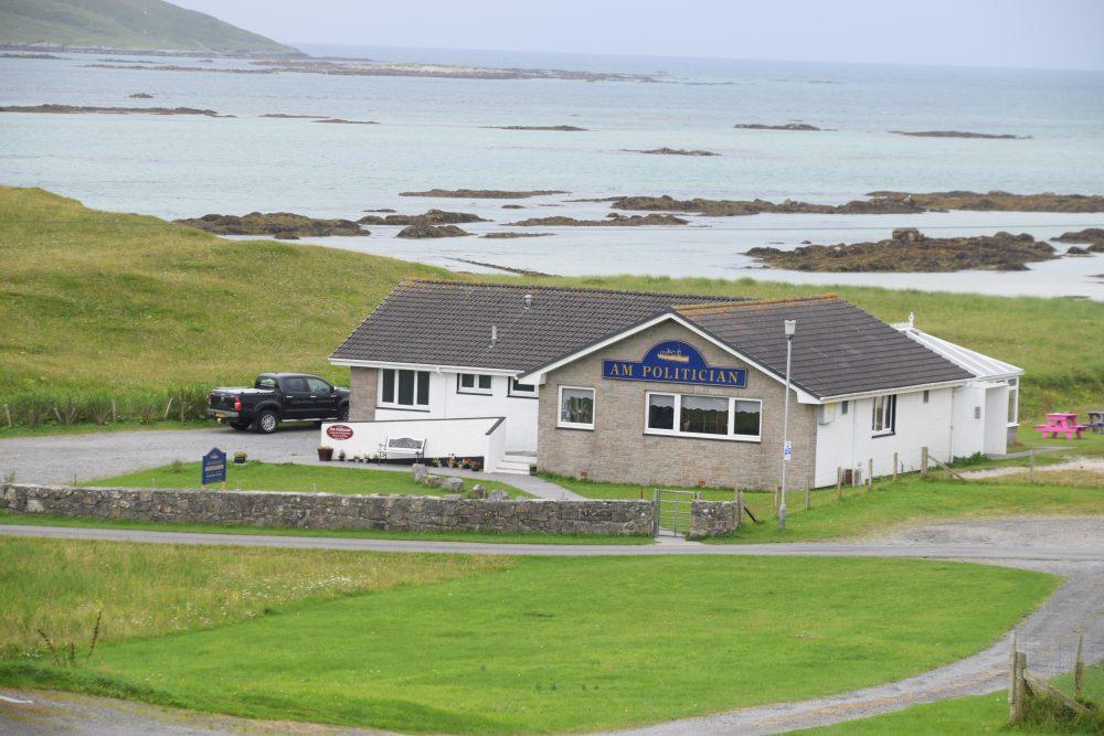The AM politician pub behind the beautiful beach at Eriskay