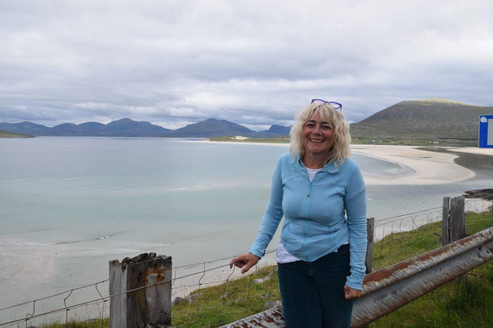 Sue at Seilebost Beach. South Harris