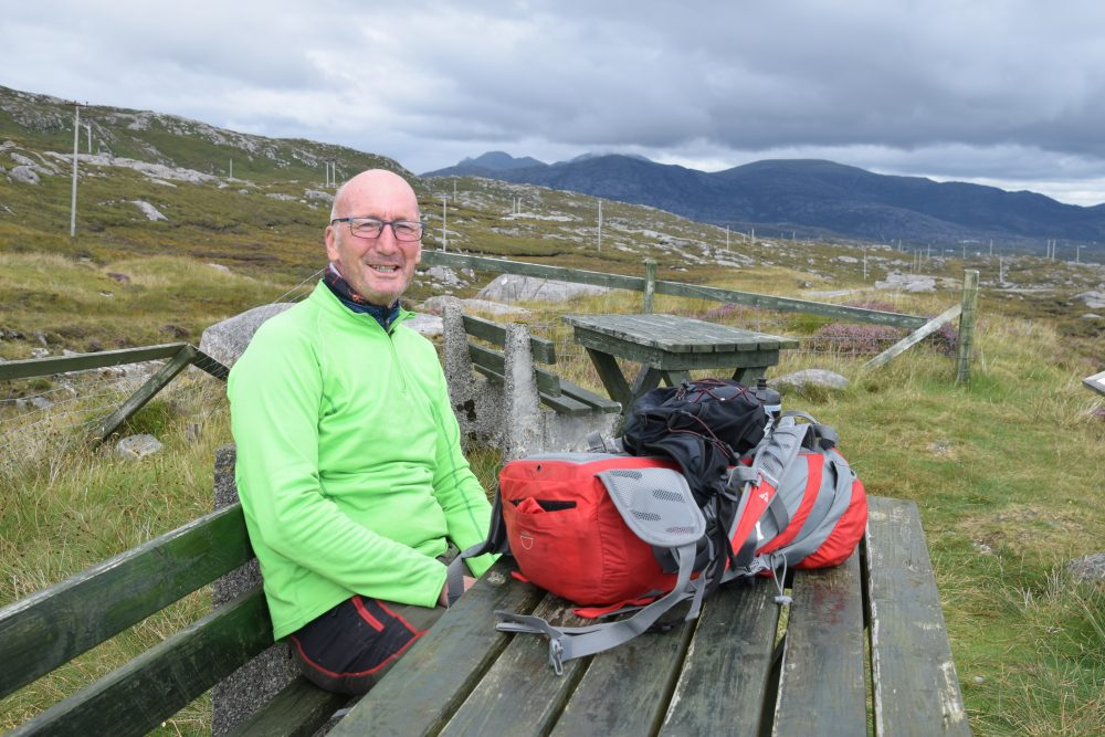 George the cyclist at the South Harris viewpoint