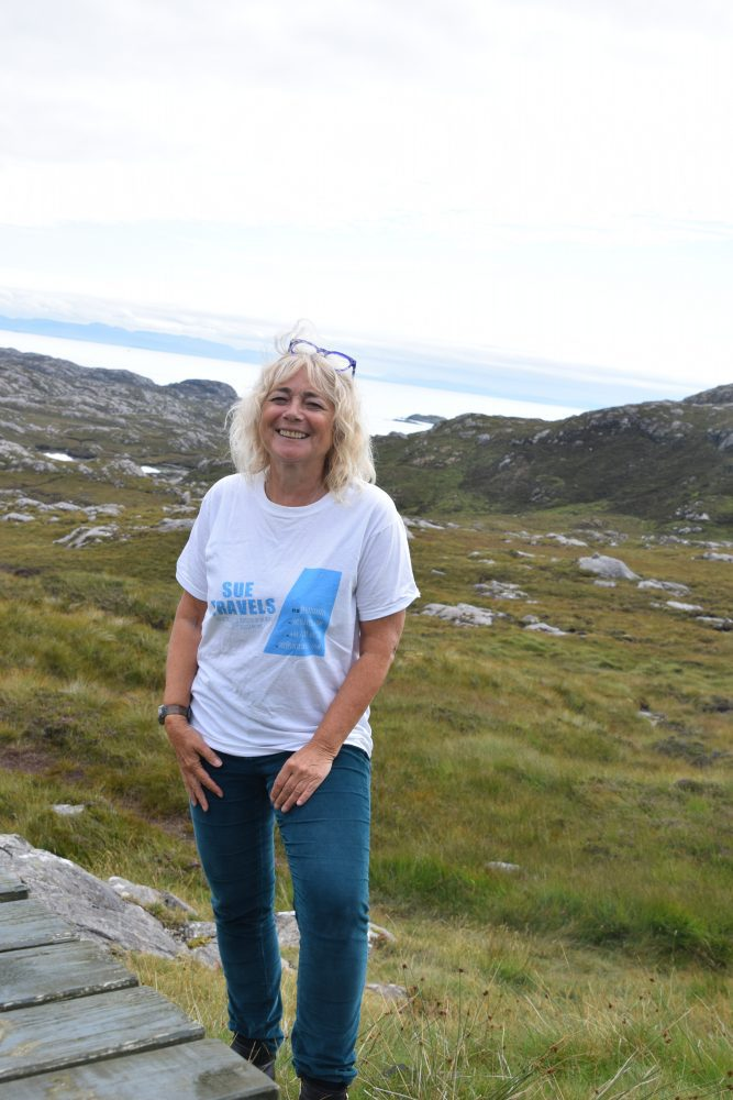 Sue at the South Harris viewpoint overlooking the Shiant Isles