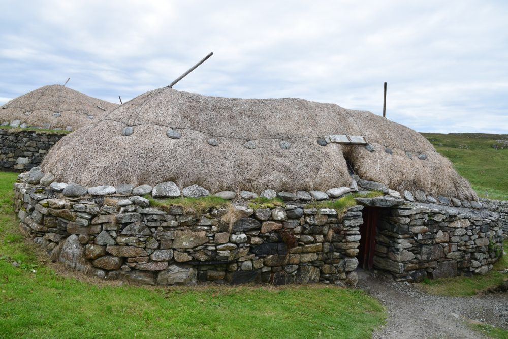 Traditional crofting house at the Gearrannan Blackhouse Village , Lewis